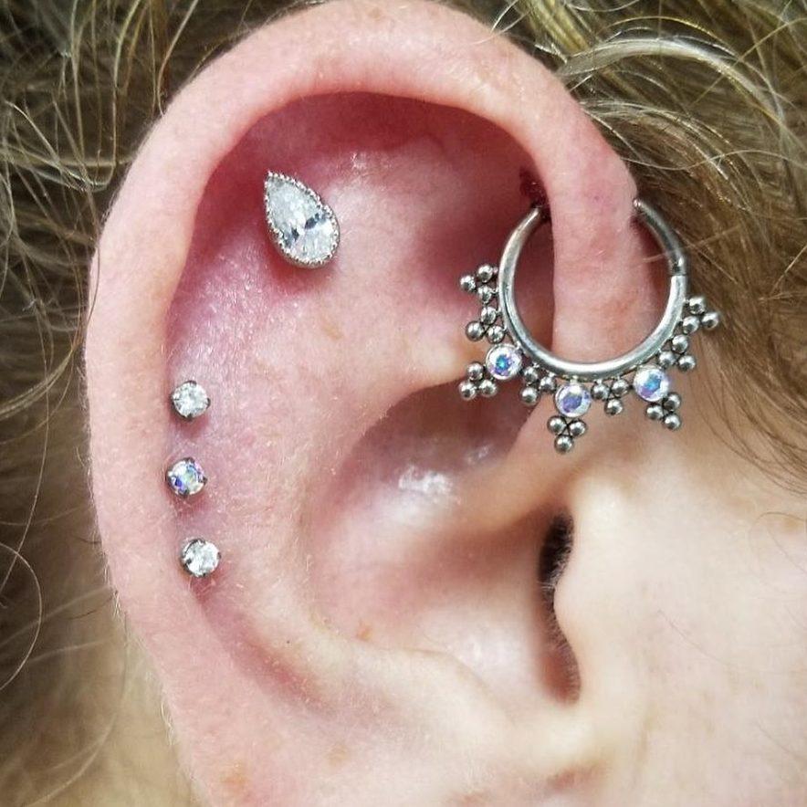 Photo of ear piercings